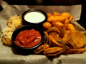 Cheese pints, stuffed mushrooms and pickle chips