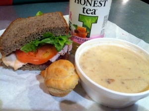 Lunch special half turkey sandwich and fish chowder